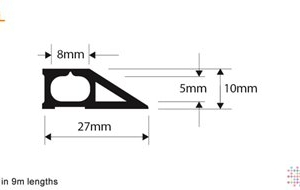 Snaptop Cable Protector - Type L - 8mm X 5mm Channel - 9M