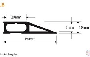 Snaptop Cable Protector - Type LB - 20mm X 5mm Channel - 9M